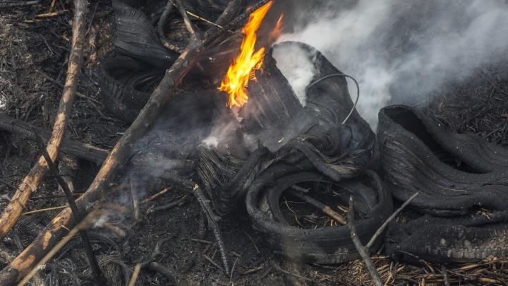 Под Волгоградом жители жалуются на вечно горящую свалку