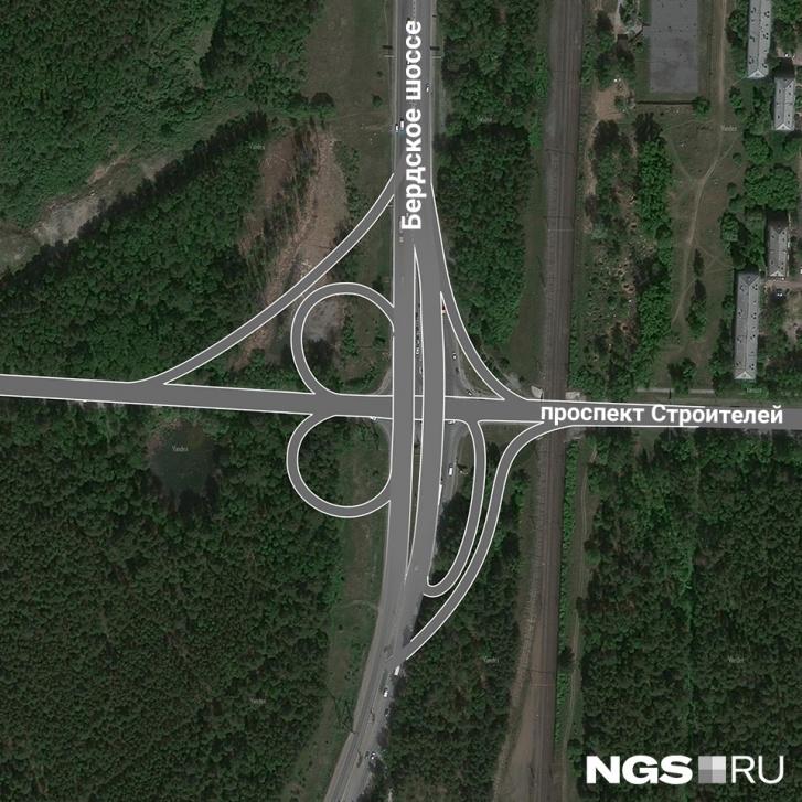 Пересечение Бердского шоссе и проспекта Строителей