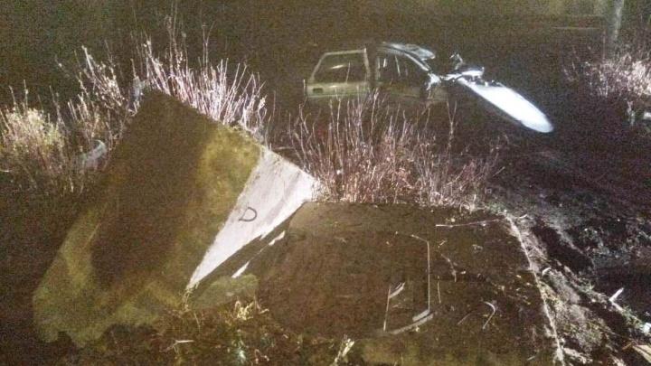 В Новосибирской области «Лада» слетела в кювет и врезалась в колодец: один человек погиб, трое в больнице
