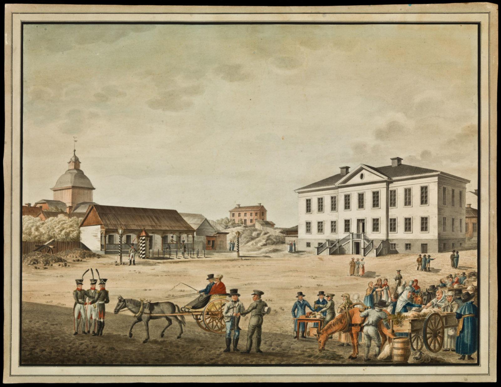 Старая Большая площадь Хельсинки. Справа - ратуша, а слева - здание гауптвахты, за которой находится церковь Ульрики Элеоноры. Картина акварелью К. Л. Энгеля датируется примерно 1816 годом.