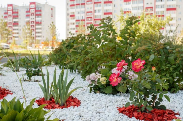 В микрорайоне продуман ландшафтный дизайн, много внимания уделяется озеленению и благоустройству