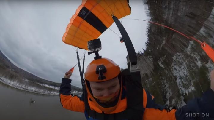 Экстремал снял на видео прыжок с Ветлана с парашютом — смотрим с замиранием сердца