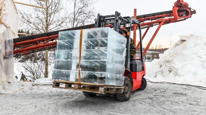 Лед ценой в миллионы: на окраине Екатеринбурга начали заготовку блоков для новогоднего городка