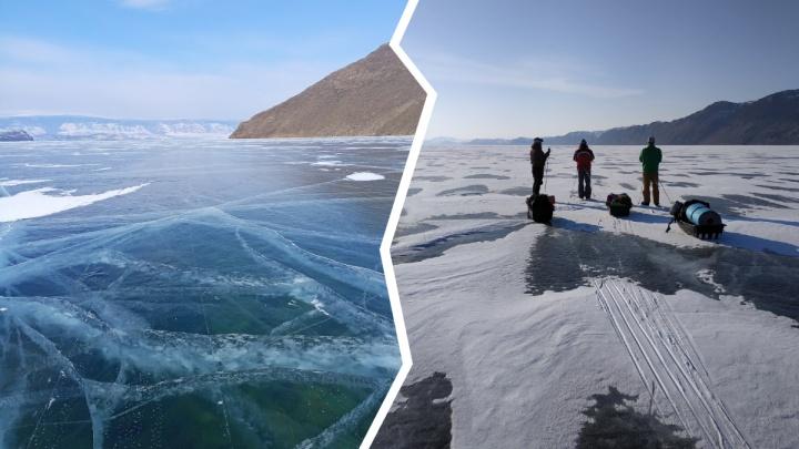 Самый большой каток в мире. Пермские туристы путешествуют по замерзшему Байкалу на коньках