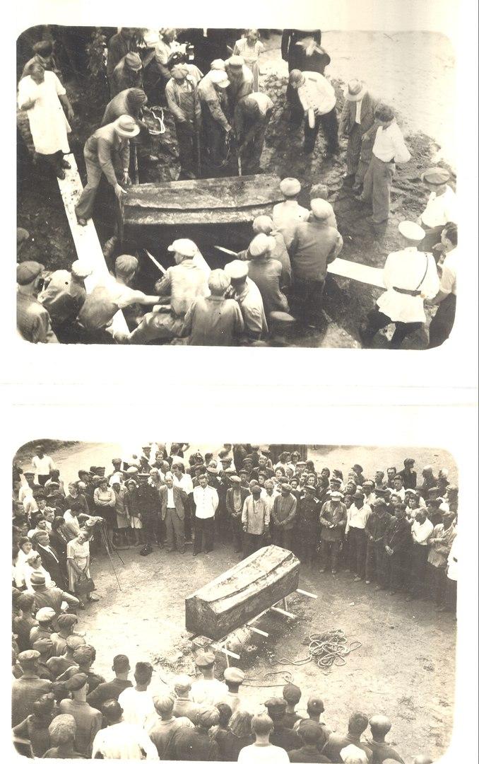 Обнаруженный гроб с останками Щорса на территории Кабельного завода в Куйбышеве. 5 июля 1949 года