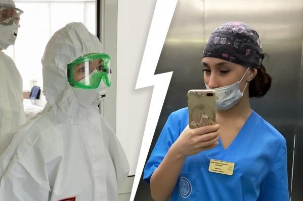Елизавета Суворова (справа) заявила, что не может получить адекватную медицинскую помощь при ковидных симптомах, и Ирина Гехт (слева) пообещала это проверить