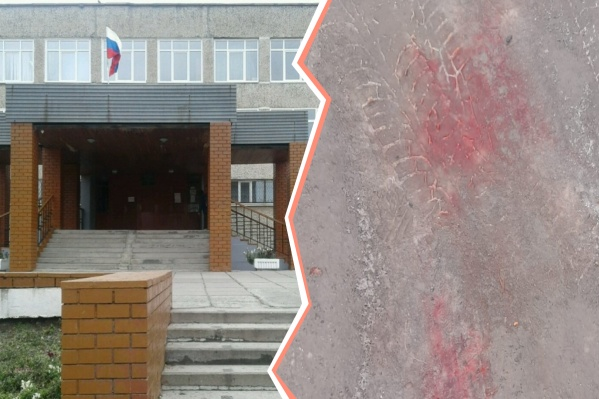 На месте избиения остались кровавые следы