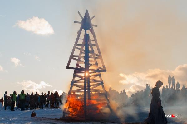 Кульминация праздника — сожжение Масленицы