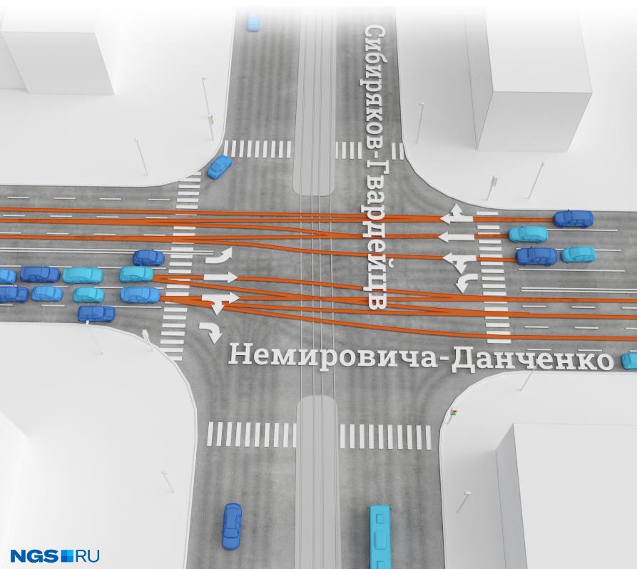 Схема движения на перекресткеулиц Немировича-Данченко и Сибиряков-Гвардейцев