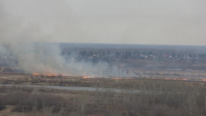 «Подъехать к огню невозможно»: в Зареке пожарные идут тушить поле. Пешком