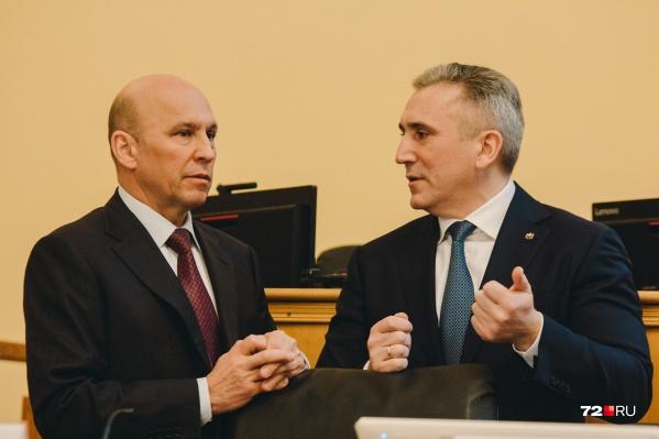 Сергей Сарычев и Александр Моор во время заседание в областной думе
