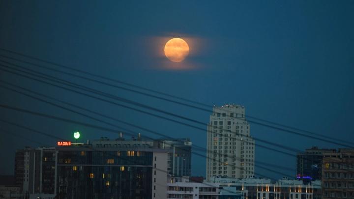 Полнолуние с красным оттенком: публикуем эффектные фото полной луны над Екатеринбургом