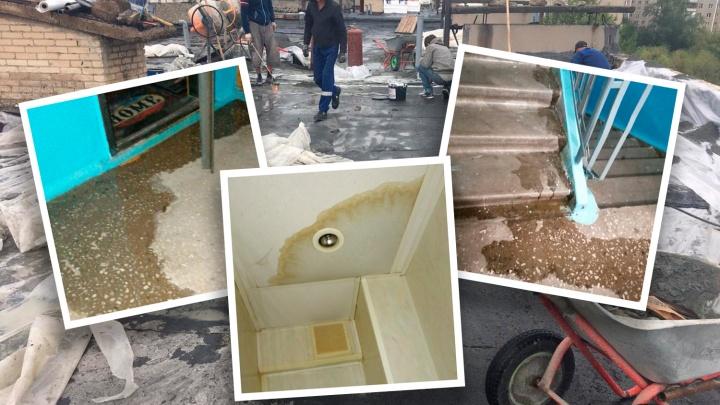 Пятиэтажку в Челябинске затопило из-за ремонта крыши. Люди несколько дней сидят без света
