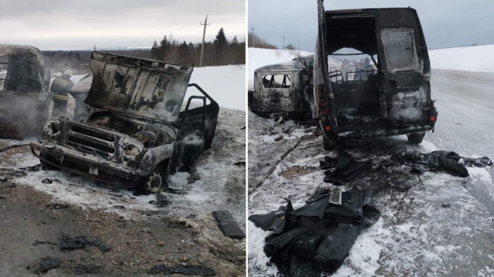 На трассе в Прикамье сгорели две машины: есть погибшие