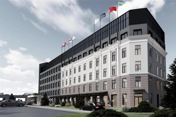 Так будет выглядеть новая гостиница, построенная на месте здания Облпотребсоюза