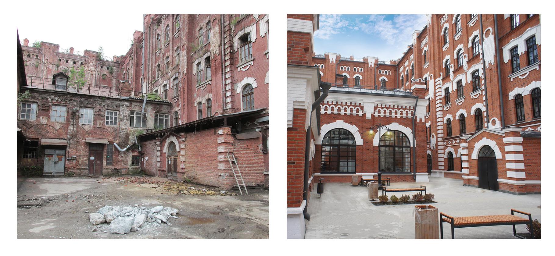 Здание мельницы Борчанинова-Первушина в 2017 (слева) и 2020 годах