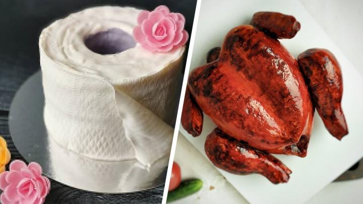 Курица гриль, рулон бумаги и мухомор: топ-7 самых странных тюменских тортов, которые вы видели