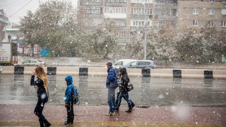 На Новосибирск идут дожди, мокрый снег и сильный ветер