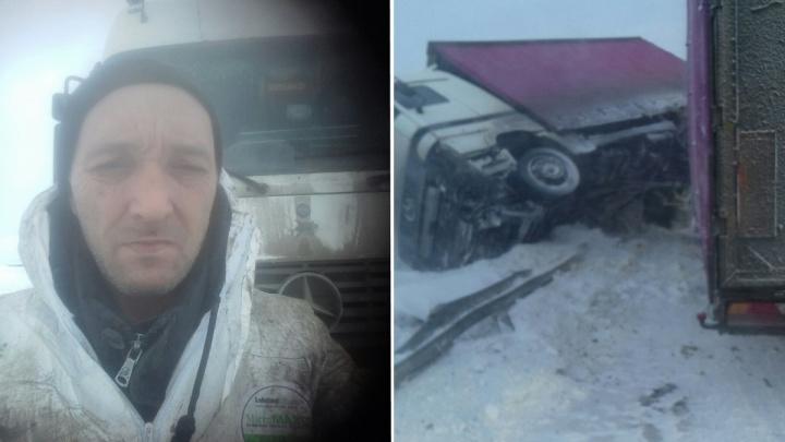 «Никому не нужный»: тюменский дальнобойщик, чью фуру сдуло ветром на трассе, живет в тундре три дня