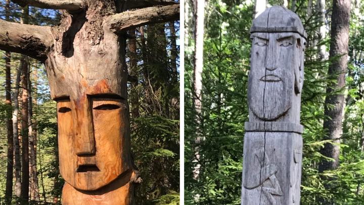 Фотофакт: языческие истуканы в лесу под Архангельском