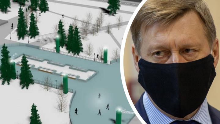 «Мне близка позиция Урганта»: мэр Новосибирска объяснил неоднозначную форму катка перед оперным