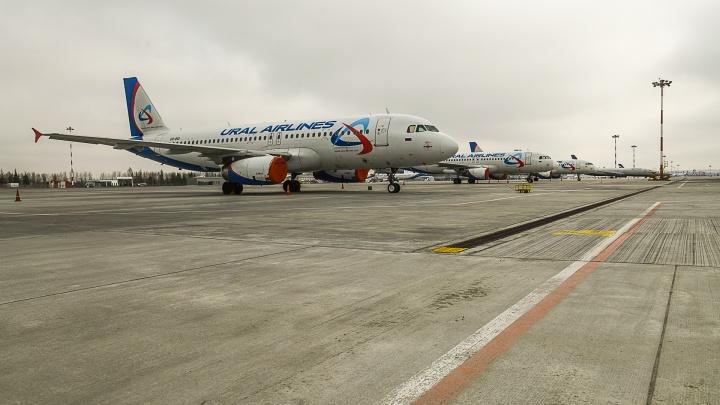 Самолет «Уральских авиалиний» потерял надувной трап в аэропорту Красноярска