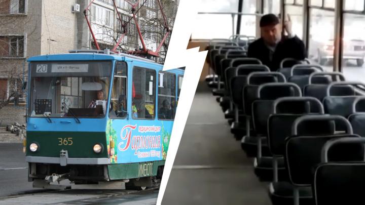 Обругал водителя и повредил дверь: на Луначарского ковид-диссидент парализовал движение трамваев