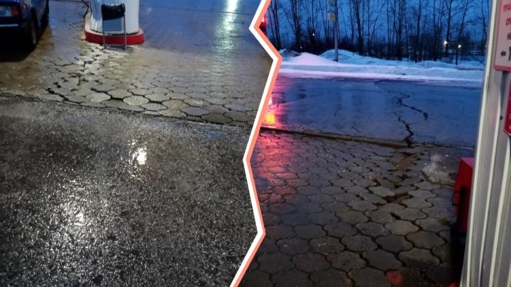 В Березниках закрыли АЗС из-за трещины на асфальте