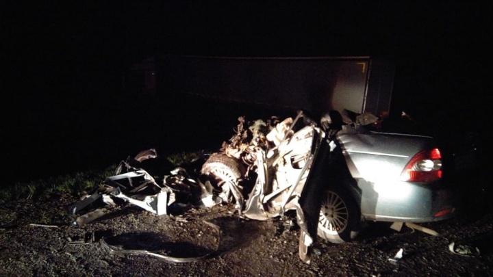 Под Омском машина превратилась в груду металла после столкновения с КАМАЗом
