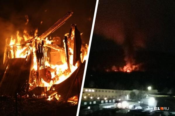 Пламя и огромный столб дыма было видно на большом расстоянии от очага возгорания