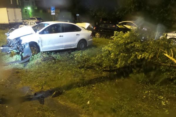 Водитель не справился с управлением, снес дерево и врезался в столб