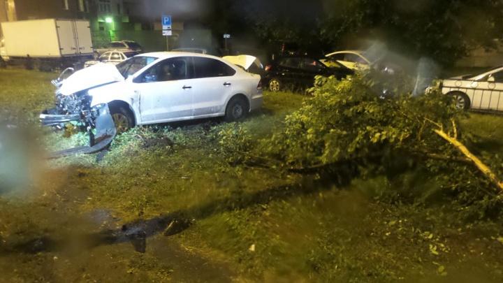 Сломал дерево и напоролся на столб: в Екатеринбурге Volkswagen вылетел с дороги