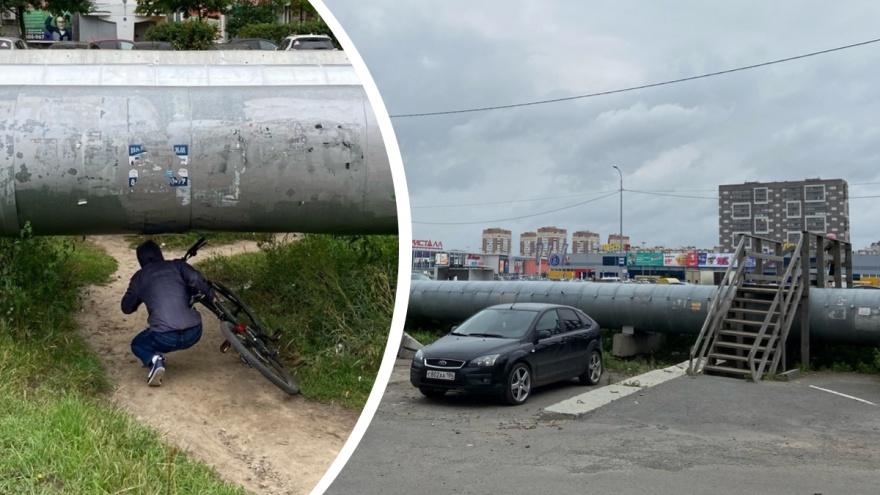 «Полное убожество»: тюменский урбанист — о наземных трубопроводах, уродующих город (посмотрите сами)