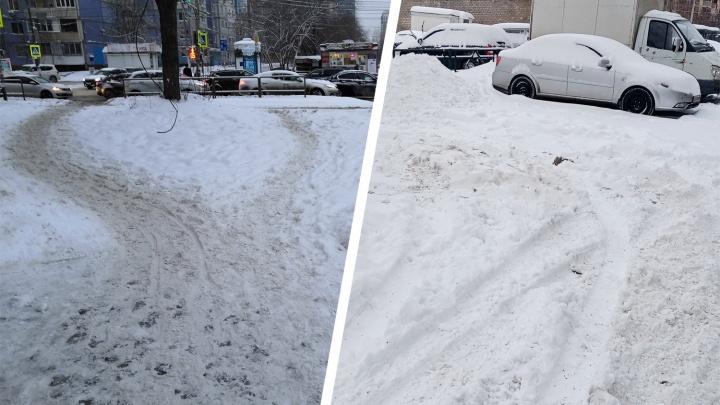 «Перепрыгиваем сугробы козлом»: жители — о качестве уборки снега в Самаре