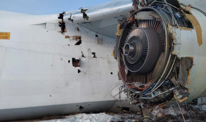 Росавиация назвала причину отказа двигателя у аварийно севшего в Толмачёво самолета «Руслан»