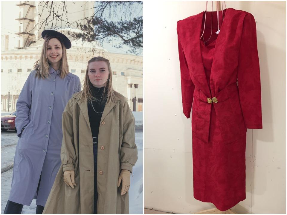 Например, этот красный костюм стоит всего 1000 рублей — пиджак сшит вручную, юбка фабричного производства. Так и хочется облачиться в ретрообраз, добавив начёс и крупные золотые серьги-кольца для полноты комплекта. В таком образе смело можно пойти в театр