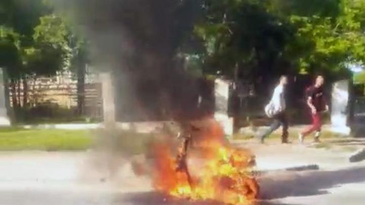 В Октябрьском районе Новосибирска сгорел мопед — от него остался только остов