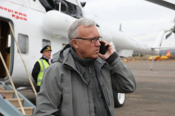 Губернатор вылетает на прорыв дамбы в Курагинском районе, октябрь 2019 года