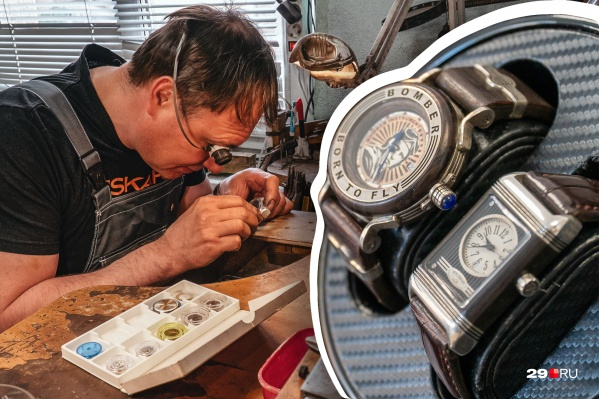 Руслан Скютте для создания своих часов использует швейцарские механизмы, драгоценные металлы, дерево ценной породы, а также натуральную кожу