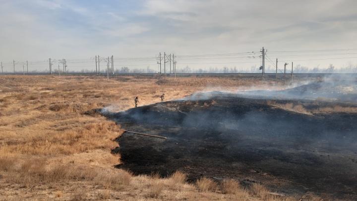 Подняли даже пожарный поезд: степной пожар под Волгоградом перекинулся на дачи