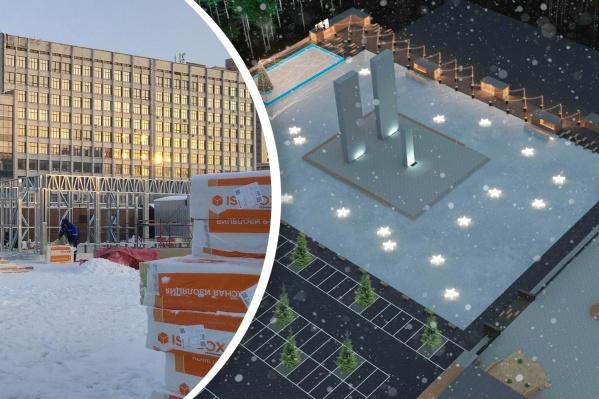 Каток у памятника Курчатову заливают ежегодно, но впервые зона для катания окружит фигуру ученого