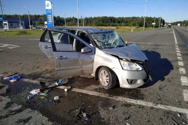 Машина получила сильный удар