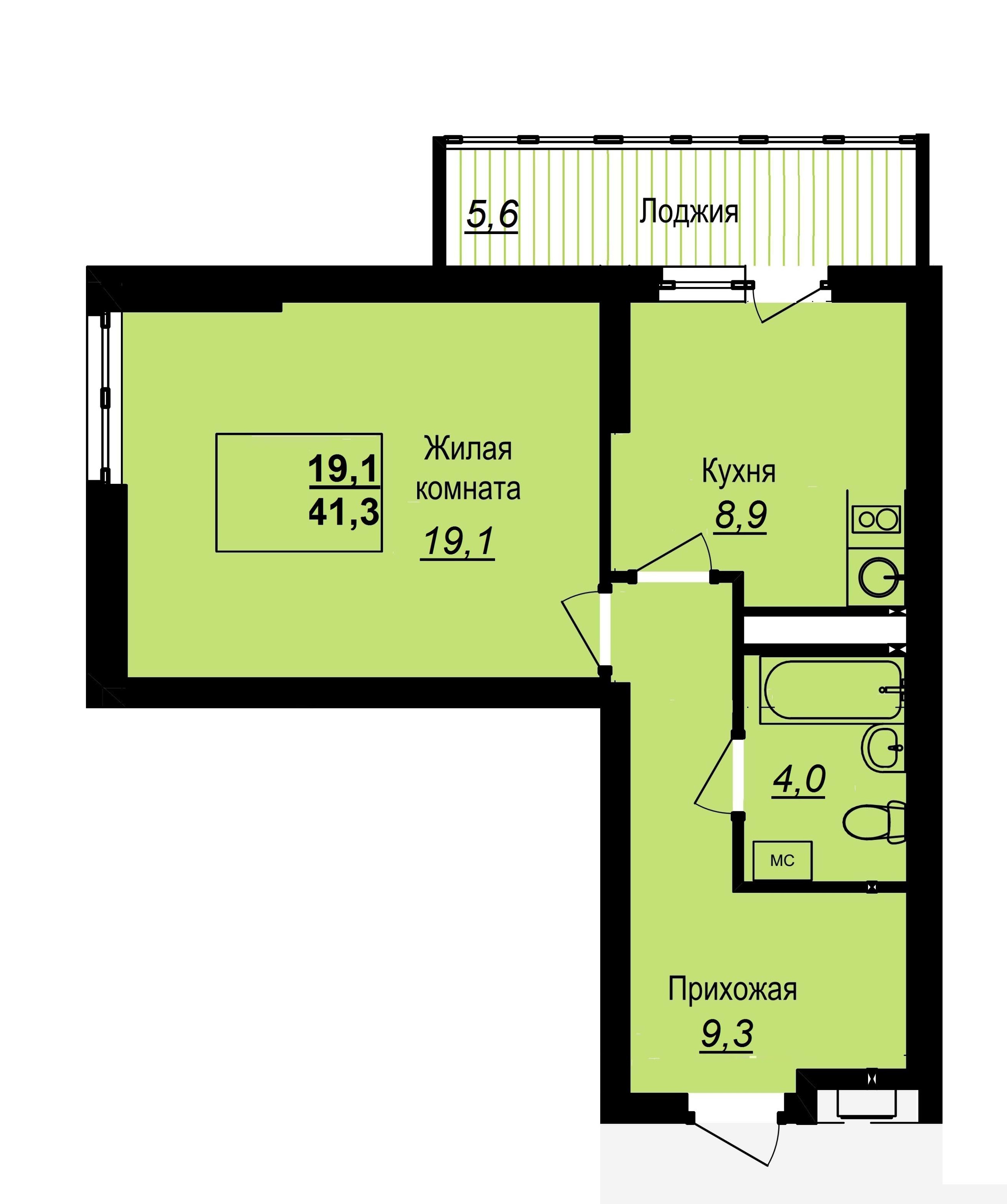 Однокомнатная квартира площадью 41 кв. м, цена&nbsp;— от 2,6 млн рублей<br> <!--[if !supportLineBreakNewLine]--><br> <!--[endif]-->