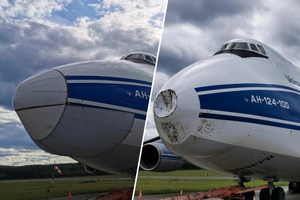 Справа — самолет после посадки, слева — после ремонта