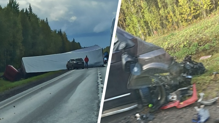 На трассе М-8 в Архангельской области перевернулся грузовик с фурой