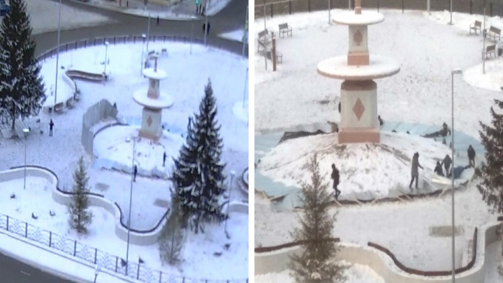 «Ребенку прижало ногу». В Каменске-Уральском ветром сдуло забор, которым оградили фонтан на площади