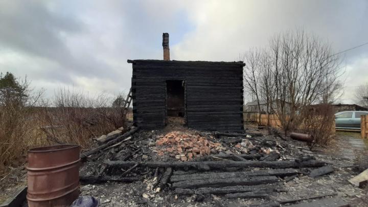 В Плесецком районе сгорел деревянный дом. Его хозяин погиб в огне