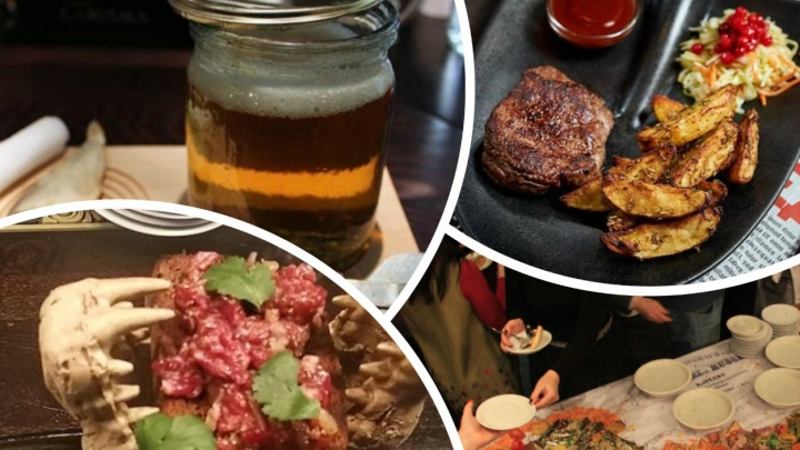 Мясо в черепе крокодила, стейк на лопате и еще 4 странных блюда из новосибирских заведений (выглядит дико)