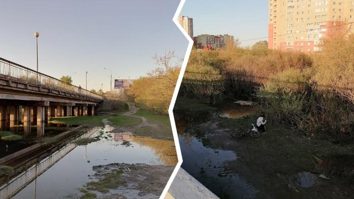 В Тюмени девушка чуть не ушла под воду на велосипеде, объезжая мост на Щербакова