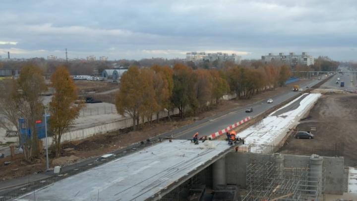 На второй очереди Самарского (Фрунзенского) моста забетонировали первый пролет